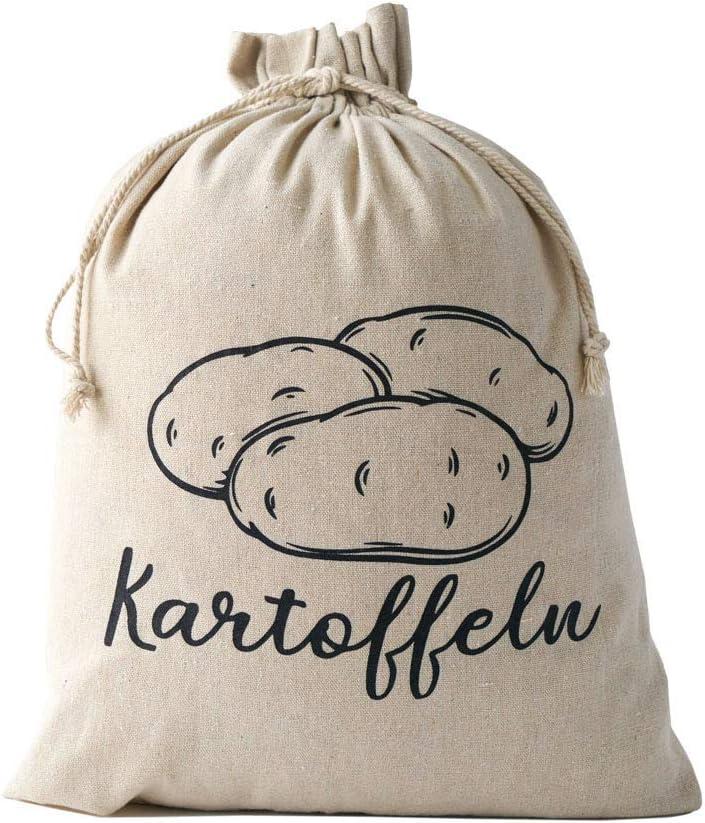 patatas organzabeutel24 ajo cebolla Juego de 3 bolsas de lino para guardar verduras