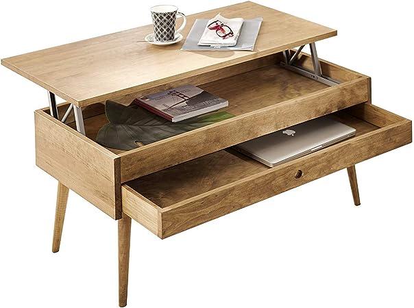 Hogar24-Mesa de centro elevable con cajón deslizante diseño ...