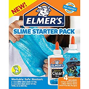 Elmer's 2022897 Glue Slime Starter Kit, Clear School Glue and Blue Glitter Glue, 4 Count
