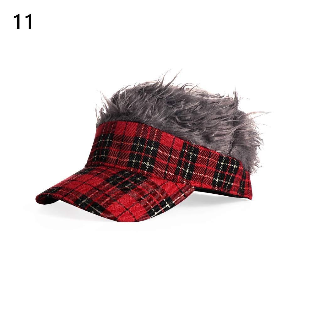 300ac4b1d39 Amazon.com  Sinchi Kuzo Men Baseball Cap Fake Hair Sun Visor Hats Men s  Women Toupee Wig Funny Hair Loss Golf Cap  Kitchen   Dining
