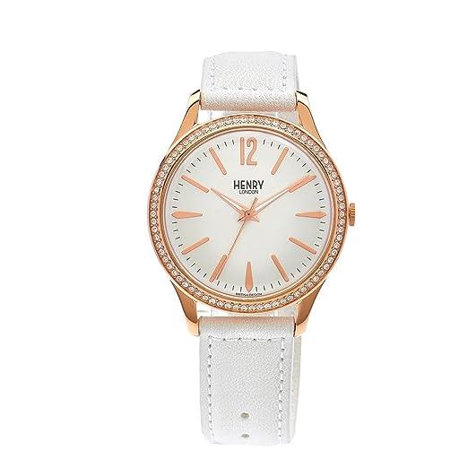 Henry London Reloj Analógico para Unisex de Cuarzo con Correa en Cuero HL39-SS-0114: Henry London: Amazon.es: Relojes