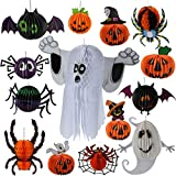Halloween Decoration Hanging Paper Garland Ghost Pumpkin Lanterns Spider Bat Decor for Patio Lawn Garden Party and Holiday Decorations Scary Theme (Set of 14)