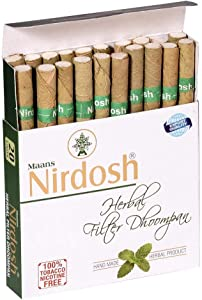 NIRDOSH Herbal No Nicotine & Tobacco Cigarettes[With Filter] - 5 Packs(20 Cigarettes Per Pack)