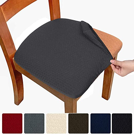 Melaluxe 2 Pack Stretch Dining Room Chair Seat Covers Removable Washable Spandex Anti-Dust Upholstered Kitchen Chair Seat Cushion Slipcovers