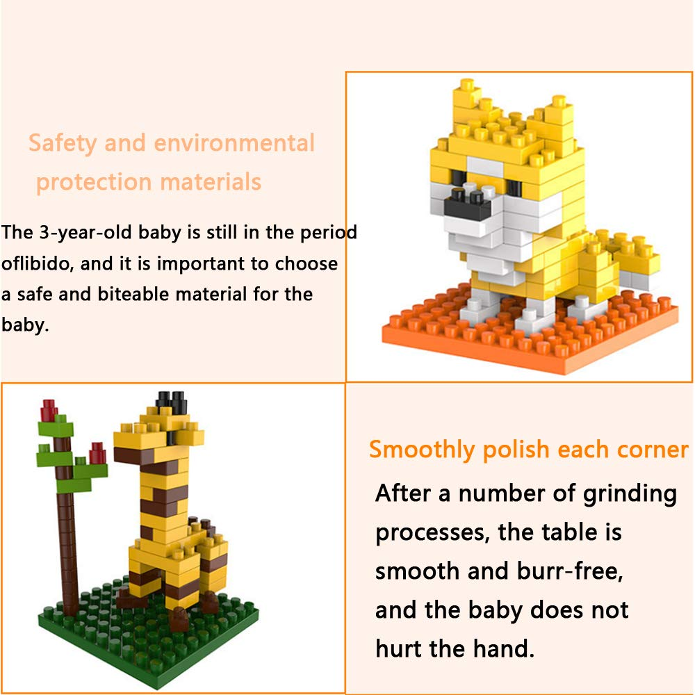 Growth park Building Blocks for Kids Cartoon Mini Plastic Animal Sets,Educational Toys 6 Piece Set Party Birthday Gift Boys and Girls Suitable for Ages Over 3 Years Old
