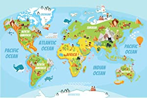 Educational Kids Global World Map Cartoon Animals Cool Wall Decor Art Print Poster 36x24
