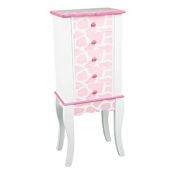 teamson meuble bijoux armoire bijoux prsentoir commode bijou bois rose blanc