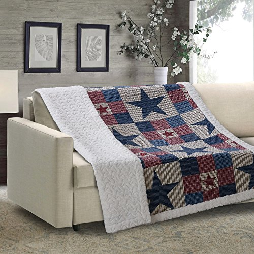 Style Bedspread Ranch (Virah Bella Mountain Cabin Stars Rustic Quilt Blanket (Gray, Sherpa Throw))