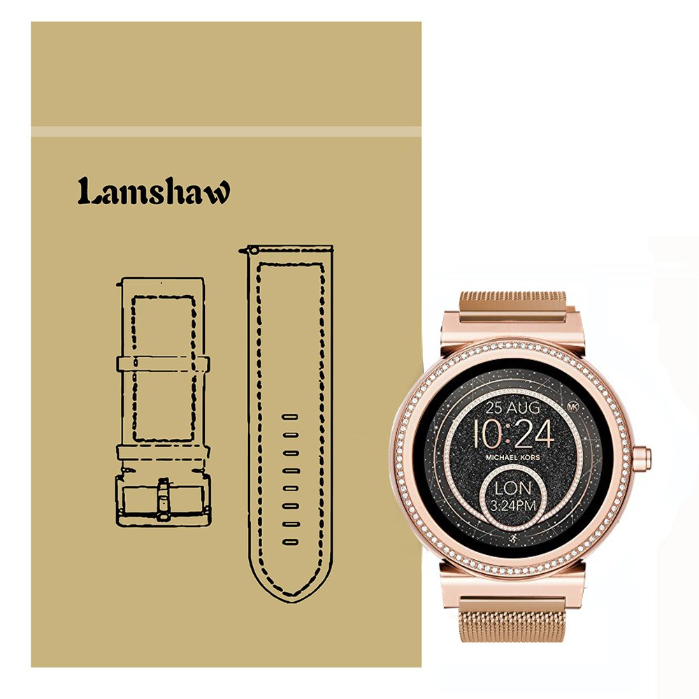 Lamshaw Quick Release Smartwatch Band for Michael Kors Access Sofie, Milanese Metal Stainless Steel Mesh Replacement Strap for MK Access Smartwatch Sofie Gen 2 (Rose gold)