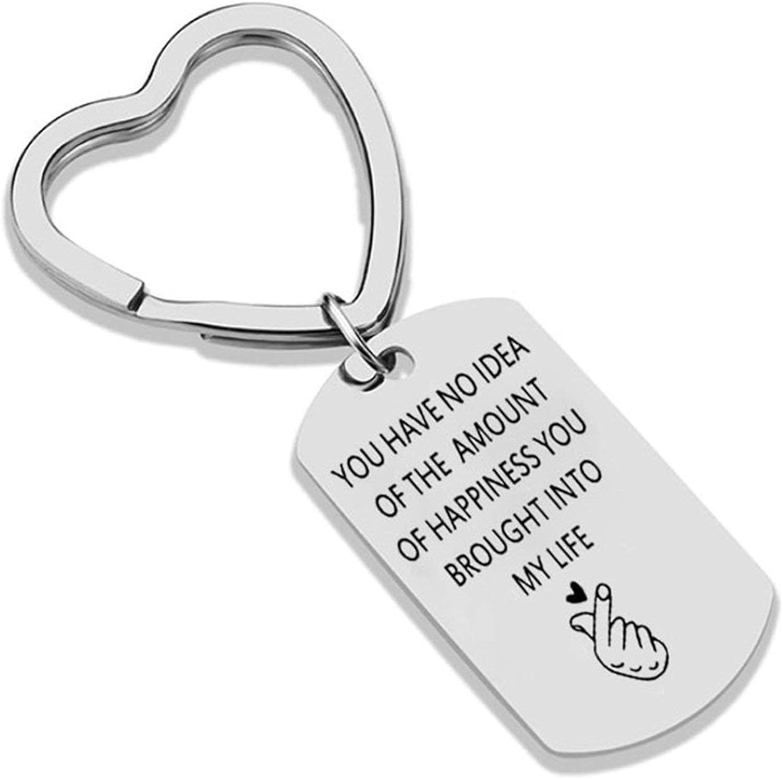 Amody Llavero de Acero Inoxidable Grabado You Have no Idea of The Amount of Happiness para Pareja San Valentín