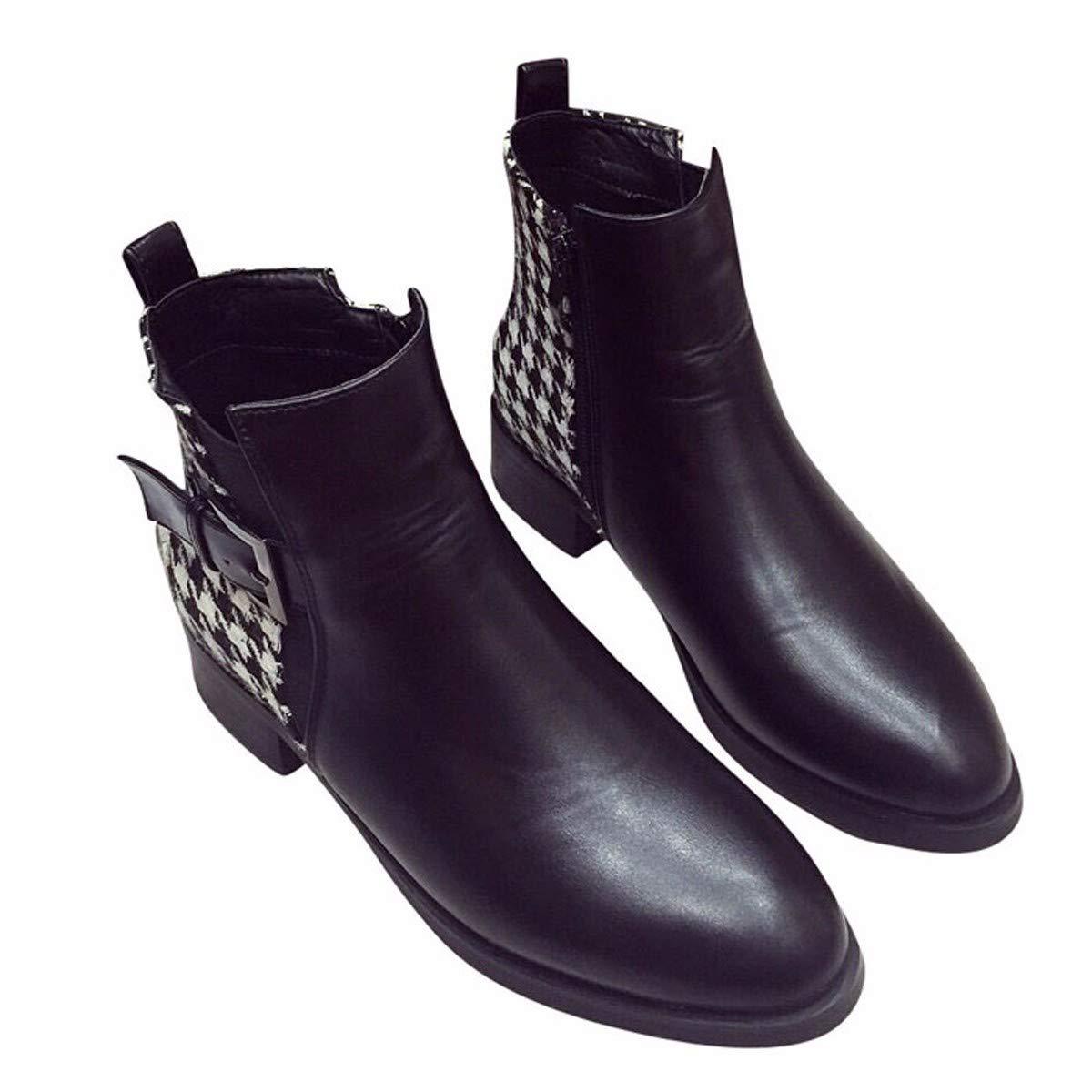 HBDLH Damenschuhe Dicke Martin Stiefel Heel 3Cm Schecks Farbabstimmung Dicke Damenschuhe Schuhe Low Heels Stiefel 8ed8f0