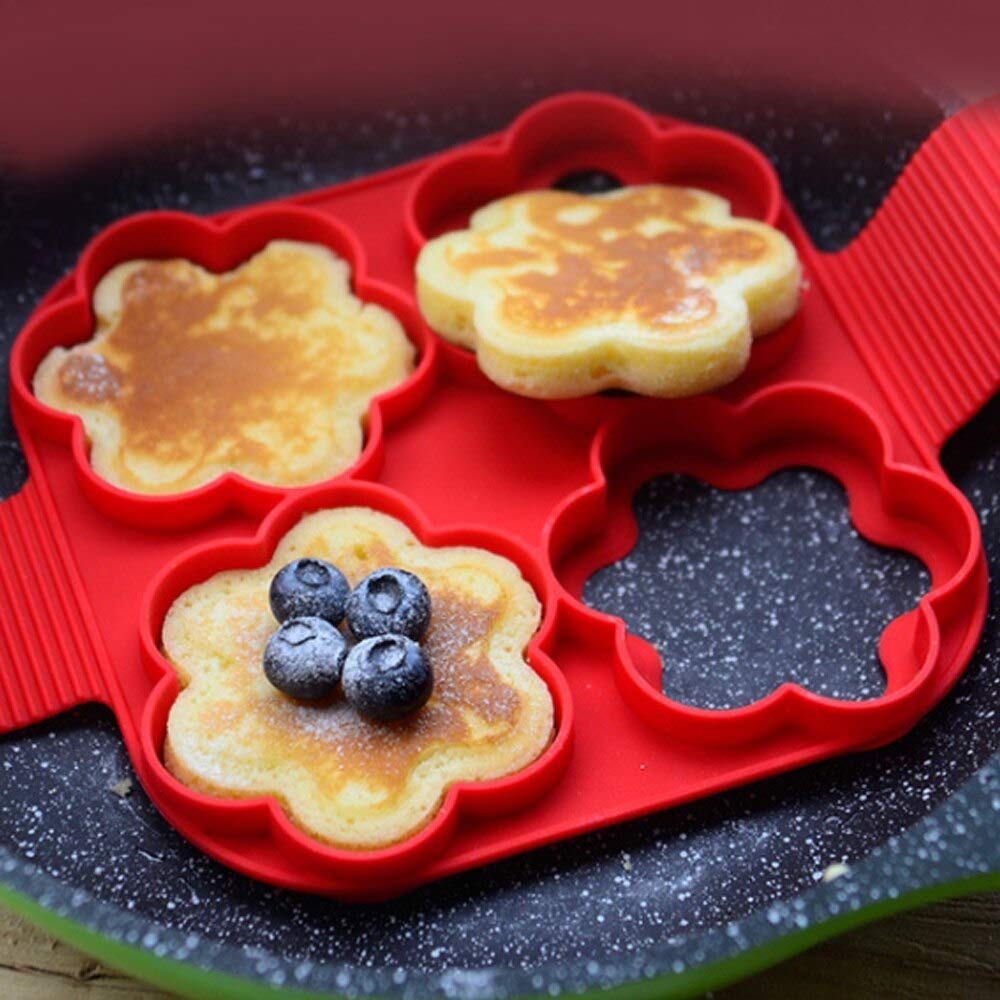 Heart Shape Silicone Pancake Mold Nonstick Easy Cooking Pancake Maker Egg Ring Kitchen Baking Accessories Creative Egg Tools