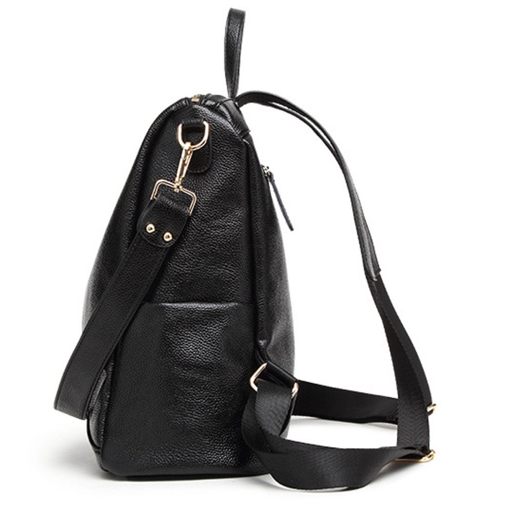 Medium Large Leather Backpack City Backpack for Women Black Vintage Hot Casual Daily Genuine Leather Backpack Bag Daypack Bag
