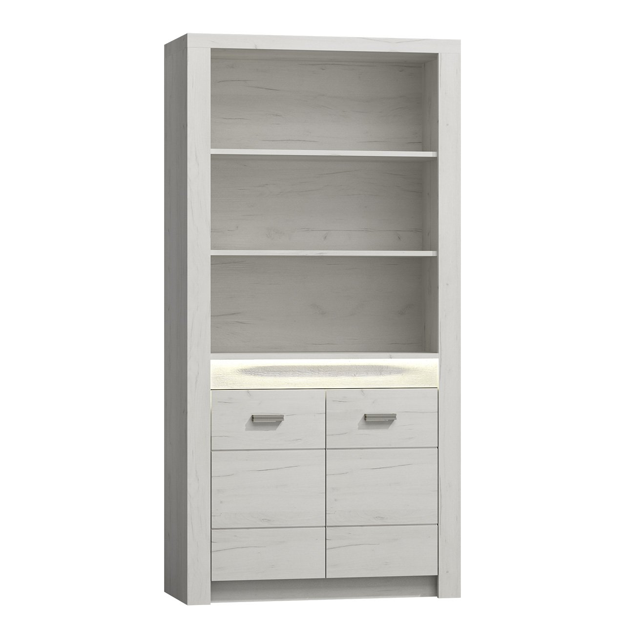 Mirjan24  Regal Indiano I-05, Standregal, Bücherregal, Hochschrank, Universal Regal, Wohnzimmer Set (Kraft Weiss, mit warmweißer LED-Beleuchtung)