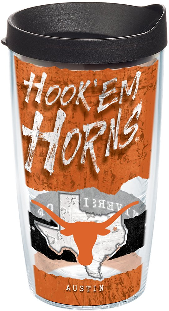 16oz Tervis 1251345 Texas Longhorns College Statement Insulated Tumbler with Wrap and Black Lid Clear