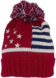 f05f59f616b Best Winter Hats Adult American Americana Flag Cuffed Knit Beanie W Pom Pom  (