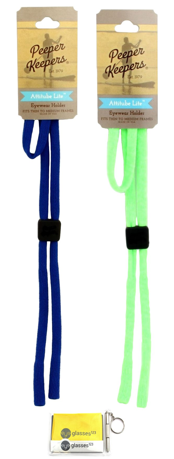 Peeper Keepers Attitube Lite, Royal and Light Lime Heather, 2 pack mix, w/Cloth & Screwdriver
