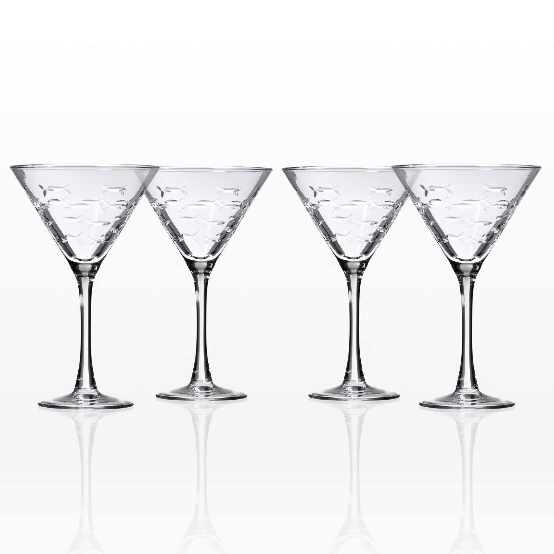 School of Fish Martini Glasses Set of 4 by Rolf Glass by Rolf Glass