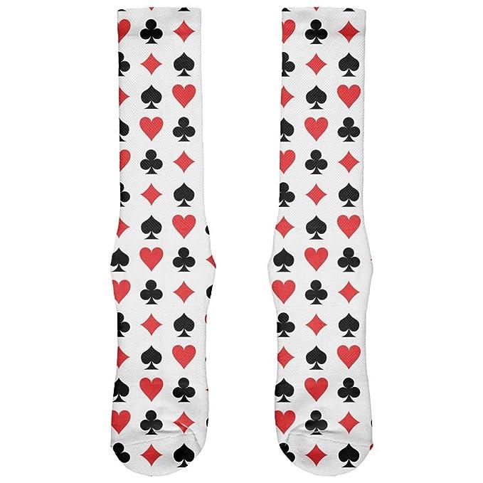 Playing Card Symbols All Over Crew Socks - Mens 6-8 at Amazon Men's