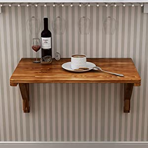 Wall-Mounted Table, Folding Desk, Wall Table Dining Table, Solid Wood Foldable Computer Desk Learning Table, Drop Leaf Table, Study Desk Small Kitchen Table Size Optional