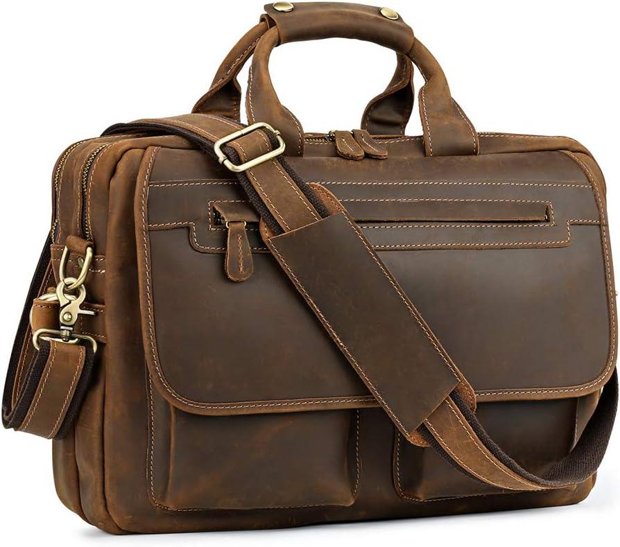 Kattee Men s Leather Durable Briefcase, 16 Laptop Bag