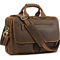 Kattee Men's Leather Durable Briefcase 16 Laptop Bag