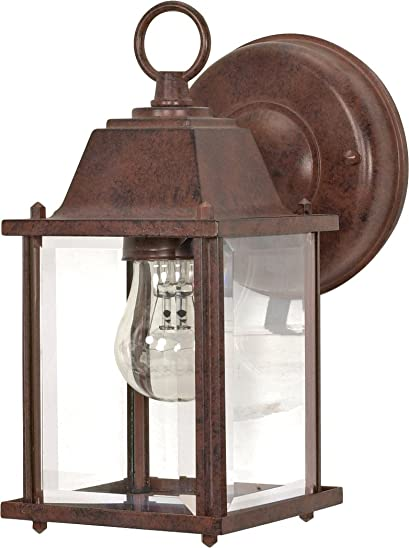 Nuvo 60 637 Old Cube Lantern with Clear Beveled Glass, with Old Bronze finish
