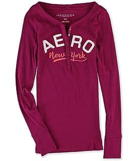 1ffefcd2 Amazon.com: Aeropostale Womens Long Sleeve Henley Shirt: Clothing