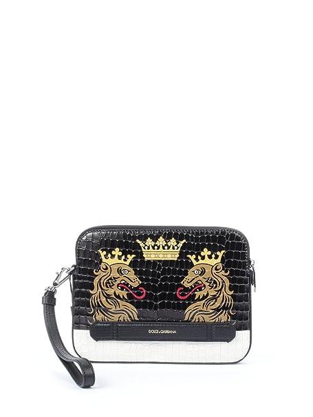 grande vendita 4ae0d e4ba1 Dolce E Gabbana Pochette Uomo Bm1254ab887hdf38 Pelle Nero ...
