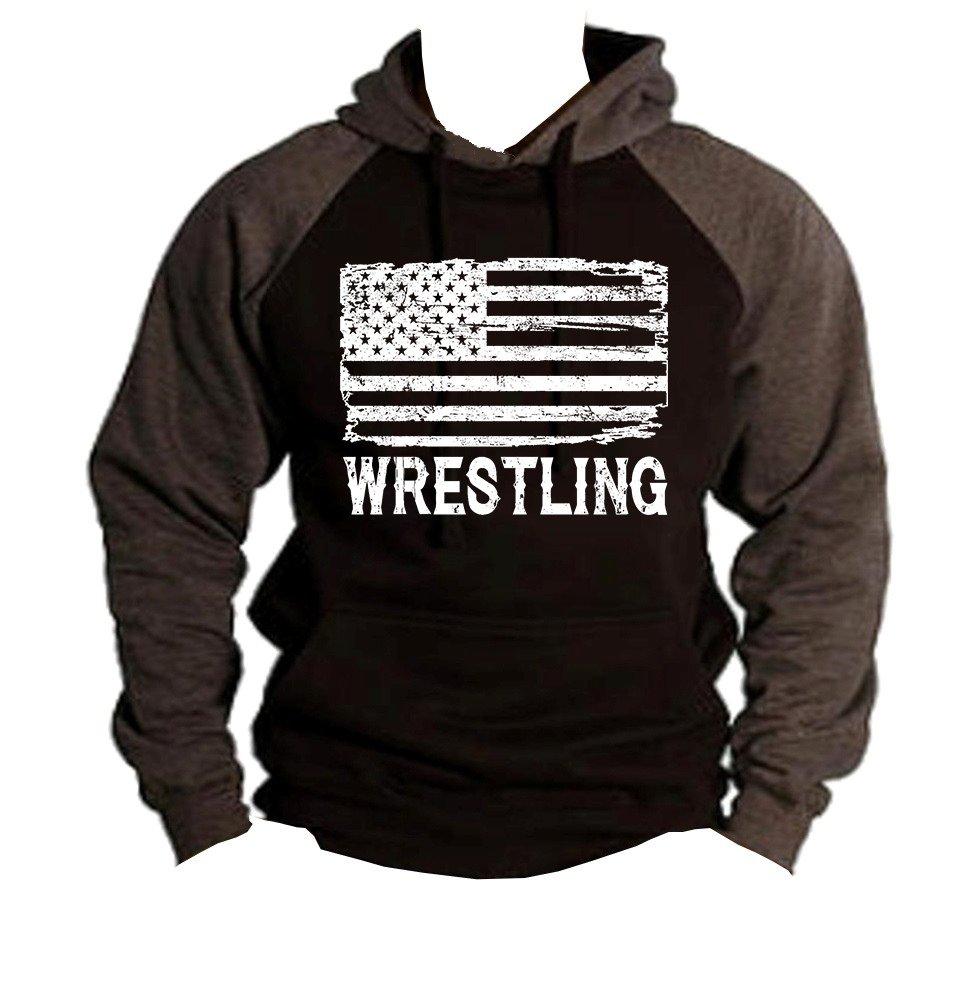 Interstate Apparel Men's Wrestling American Flag Black/Charcoal Raglan Baseball Hoodie Sweater 2X-Large Black by Interstate Apparel