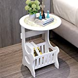 Indoor Multi-Function Accent Table Study Computer Home Office Desk Bedroom Living Room Modern Style End Table Sofa Side Table Coffee Table White round coffee table