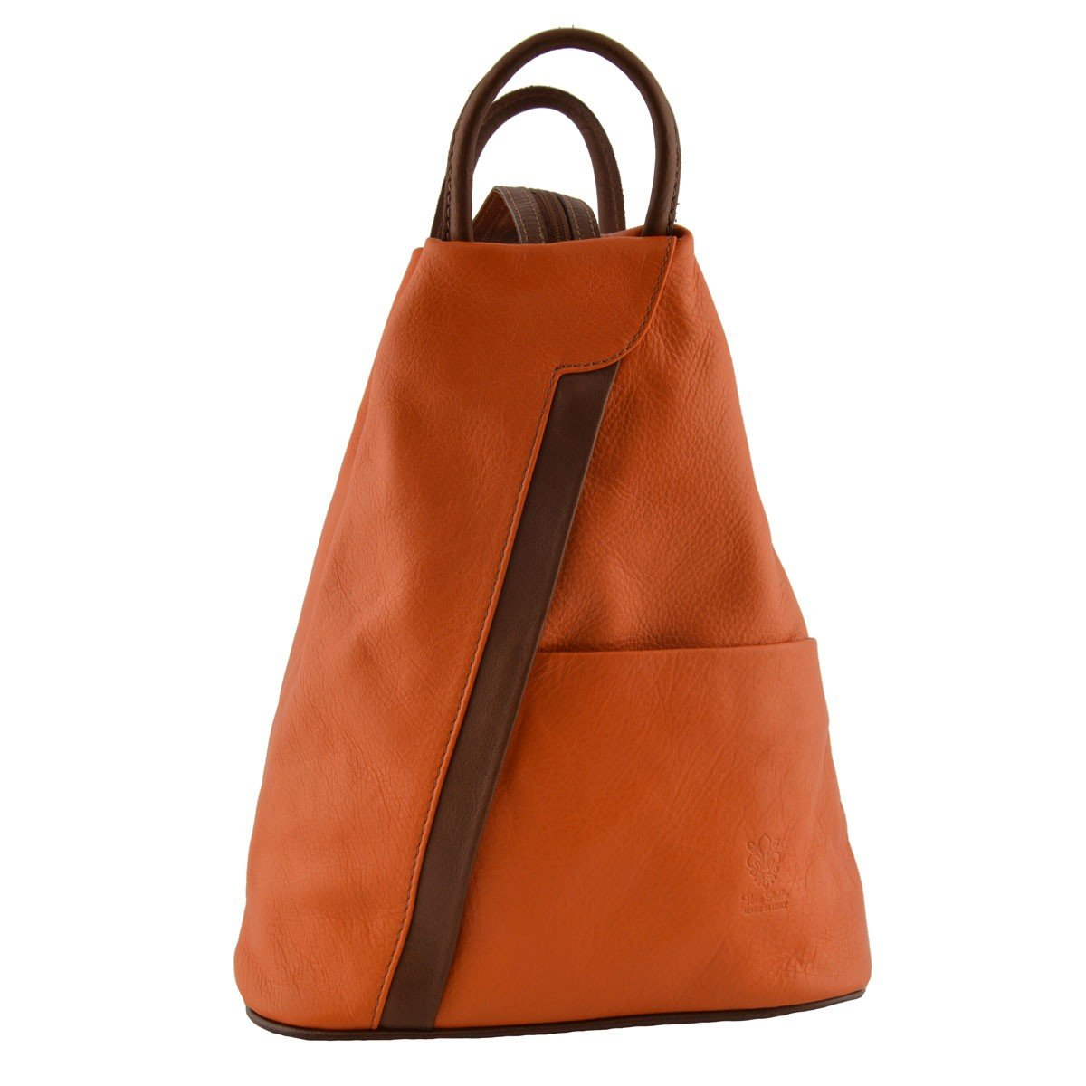 Woman Leather Backpack Color Orange Brown