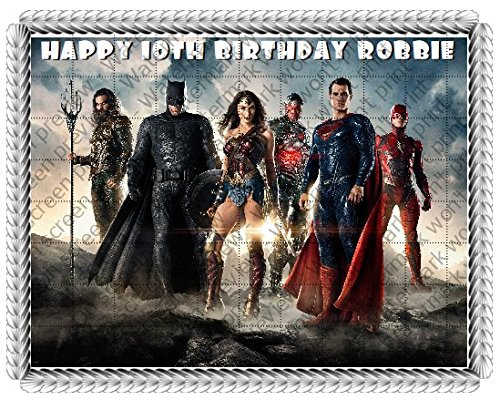 Justice League 2017 Movie Edible Frosting Image 1/4 sheet Cake Topper -
