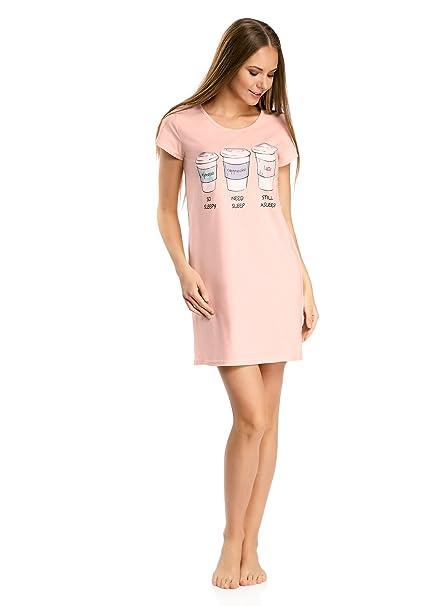 oodji Ultra Mujer Vestido de Algodón de Estar por Casa con Estampado, Rosa, ES 42 / L: Amazon.es: Ropa y accesorios