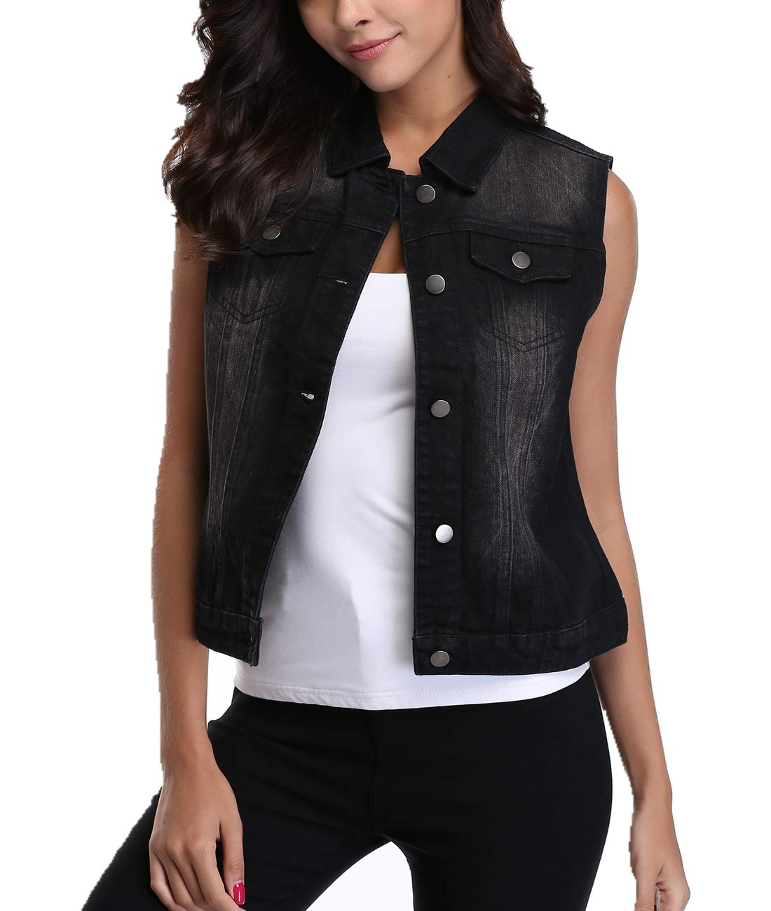 MISS MOLY Denim Vest for Women Buttoned Washed Cropped Jean Jacket w 2 Chest Flap Pockets