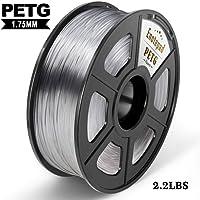 PETG 3D Print Filament, Maßgenauigkeit +/- 0,02 mm, 1 kg/Spool, 1,75 mm, umweltfreundlich Filament geeignet für 3D-Drucker / 3D Print Pen (Transparent)