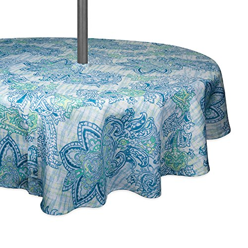 DII CAMZ10392 TC OUTDOOR ZIP BLUE PAISLEY 52RND, 52 Round w/Zipper, Watercolor