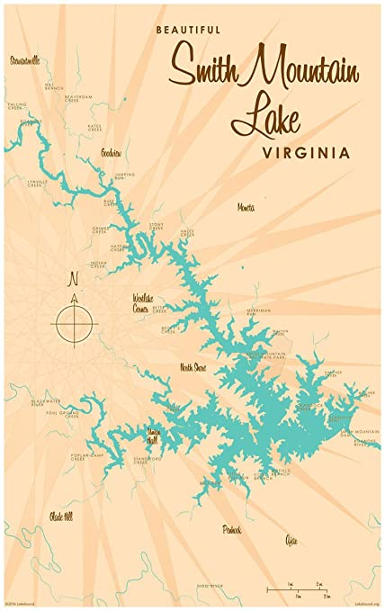 Smith Mountain Lake Map Amazon.com: Smith Mountain Lake Virginia Map Vintage Style Art
