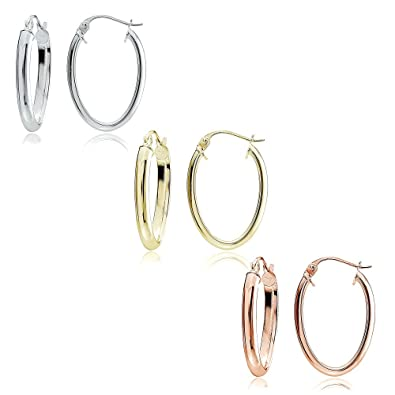 0f18f23dd Image Unavailable. Image not available for. Color: Sterling Silver Tri  Color 2x15mm High Polished Oval Shaped Hoop Earrings, Set of 3