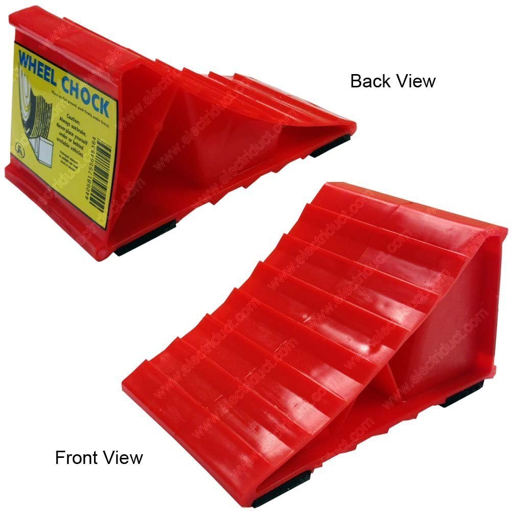 Electriduct Red Plastic Wheel Chocks - 8 Pack