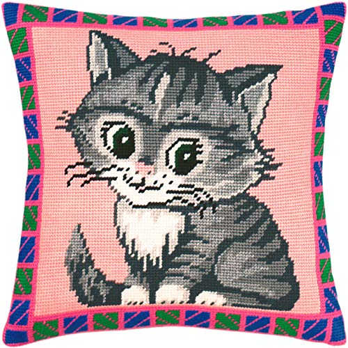 Pussycat. Cross Stitch Kit. Throw Pillow Case 16×16 Inches. Home Decor, DIY Embroidery Needlepoint Cushion Cover Front, Printed Tapestry Canvas, European Quality. cat, Pets
