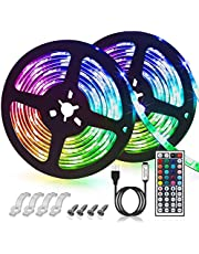 GLIME LED Strip Lights 10m Color Change IP65 Waterproof 5050 RGB LED Strips Lights Kit 44 Key IR Remote Control for Christmas Garden Bar Party Home Decorations