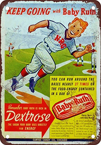 baby-ruth-and-baseball-vintage-look-reproduction-metal-tin-sign-7x10-inches