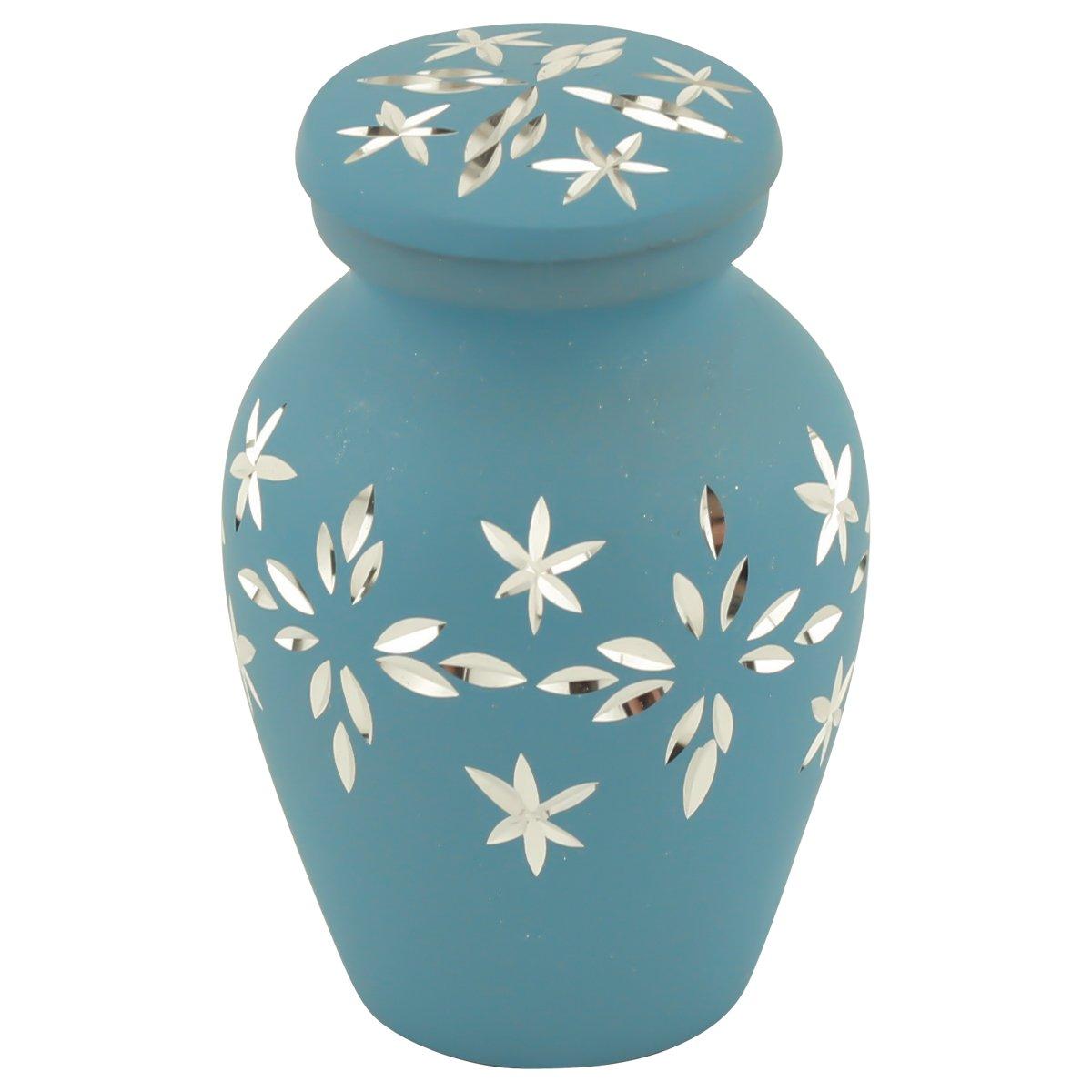 Silverlight Urns Mercury Leaves Keepsake Urn, Mini Urn for Ashes, Autumn Leaf Pattern in Grey, Multi-Color, 2.75 Inches High MAF-319K
