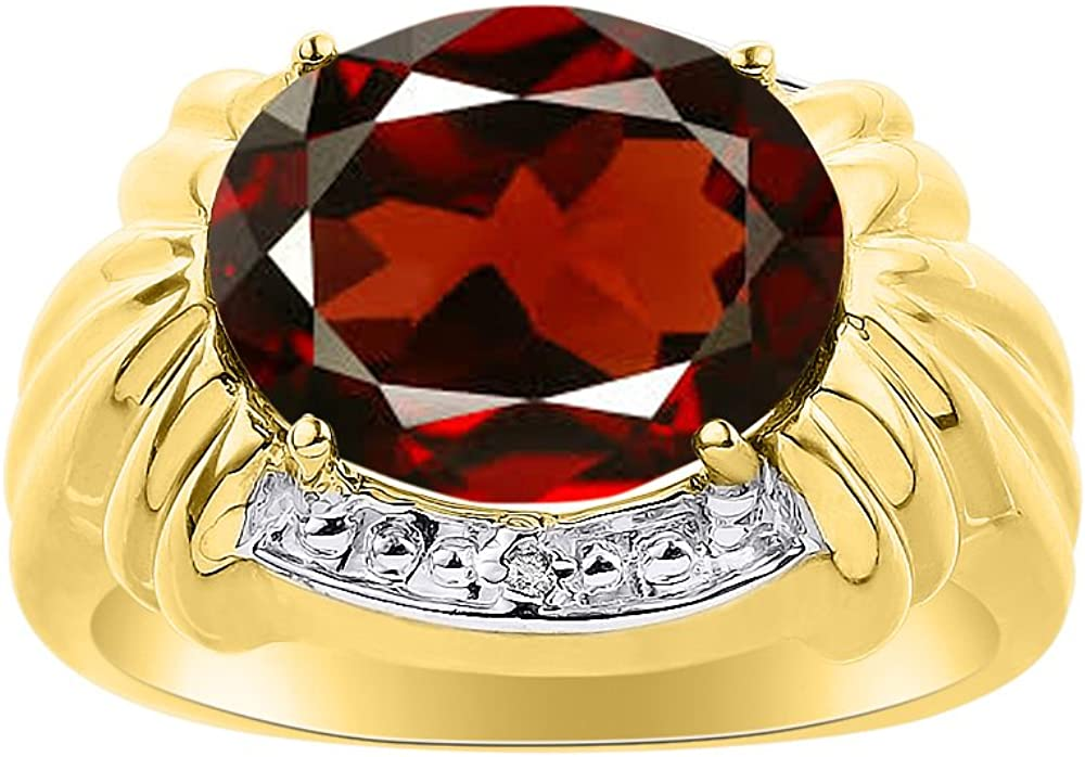 Diamond /& Garnet Ring Set In Yellow Gold Plated Silver 12 X 10MM Color Stone Birthstone Ring