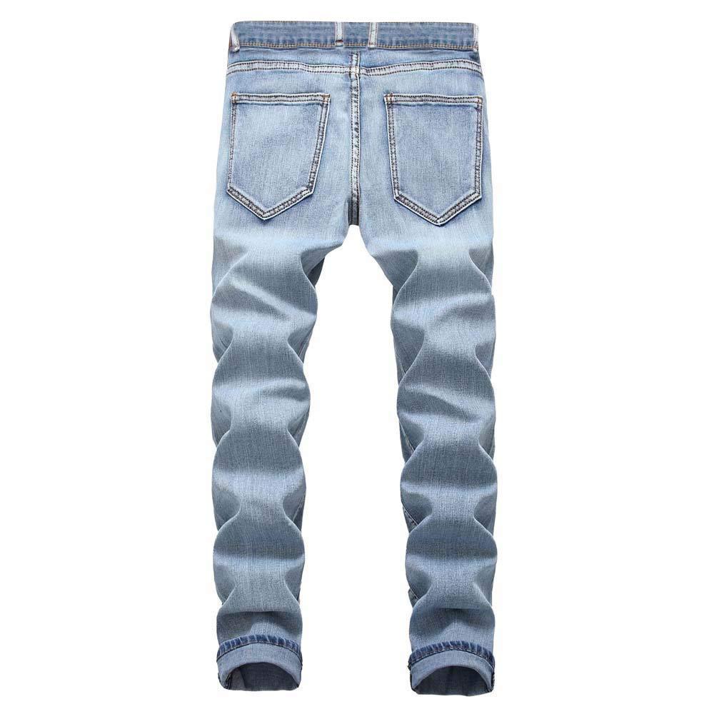 Kstare Mens Jeans Pants Prime Casual Autumn Denim Cotton Zipper Ripped Hole Trousers Jeans Pants Light Blue
