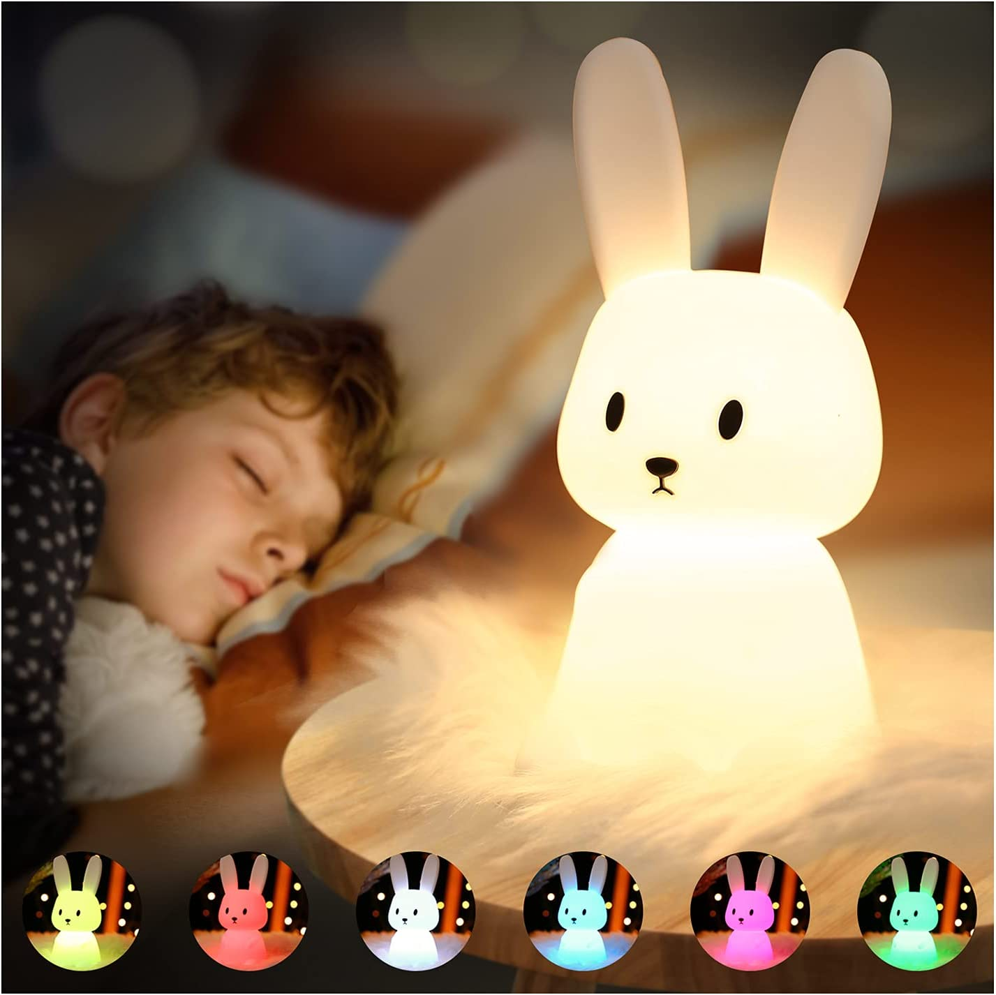 SOLIDEE Bunny Cute Night Light for Children Color Changing Tap Control Portable Squishy Silicone Bedside Lamp Nightlight Kids Kawaii Room Decor Bedroom Decorations for Baby Teens Girls Boys Toddler