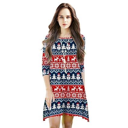 Mujer Camisón Vestido Primavera Otoño Navidad Elegantes Batas Manga Largo Cuello Redondo Ropa De Dormir Vintage Fashion Reindeer Muñeco De Nieve Estampadas ...