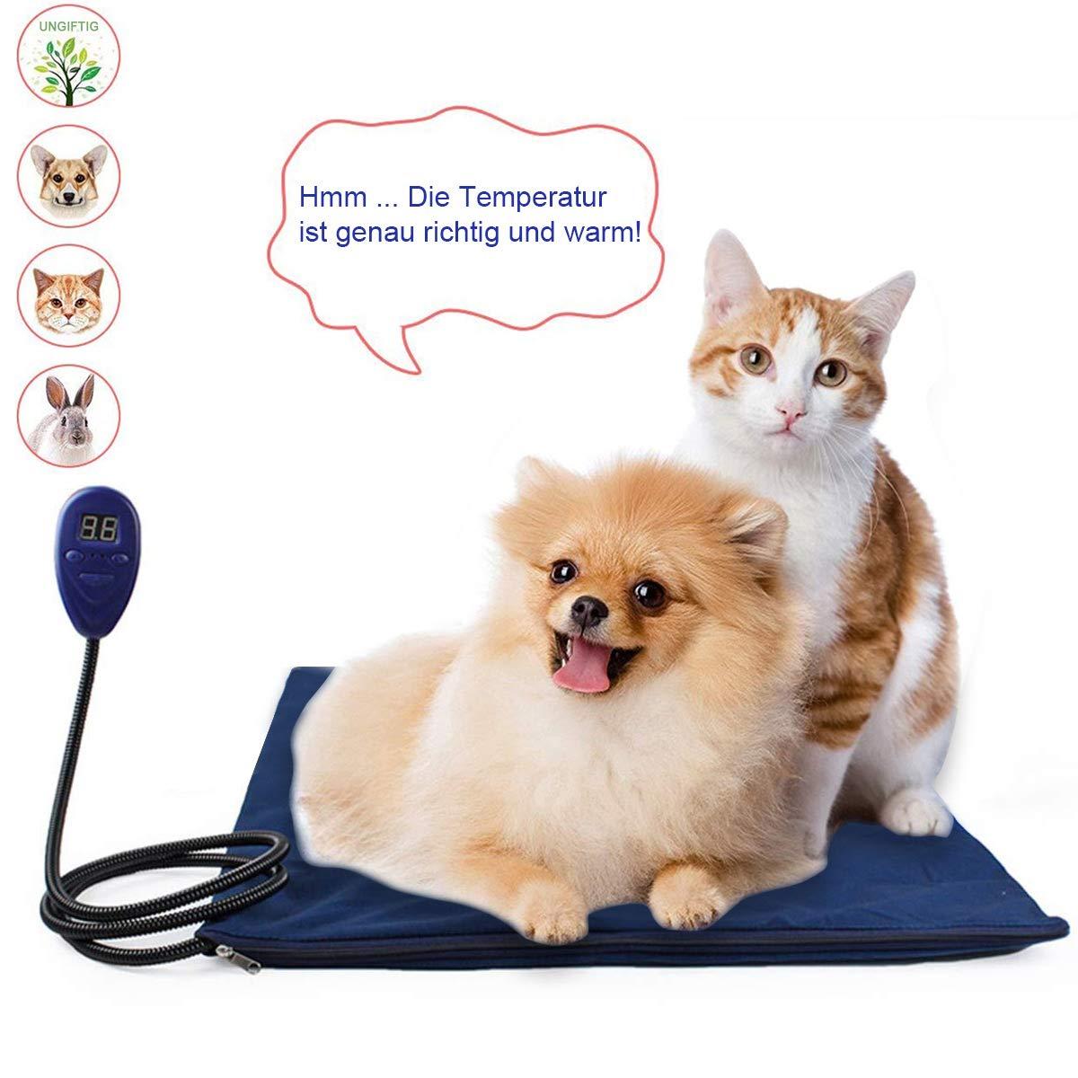 KOBWA Heizmatte Hund Katze Haustier, Heizdecke Heizkissen Wasserdichte Wärmematte Beheizte Heizplatte 7 Temperatur Einstellbar zwischen 25℃-55℃ mit Anti-Bite Schnur für Hunde und Katzen, 50x50cm