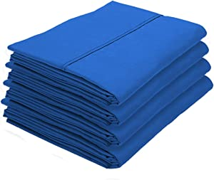 Bare Home 4 Pillowcases - Premium 1800 Ultra-Soft Collection - Bulk Pack - Double Brushed - Hypoallergenic - Wrinkle Resistant - Easy Care (King - 4 Pack, Medium Blue)